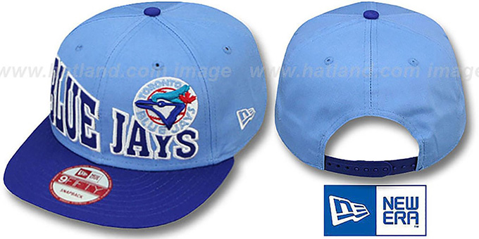 Blue Jays 'STOKED SNAPBACK' Sky-Royal Hat by New Era : pictured without stickers that these products are shipped with