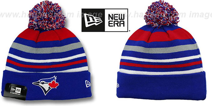 Blue Jays 'STRIPEOUT' Knit Beanie Hat by New Era : pictured without stickers that these products are shipped with
