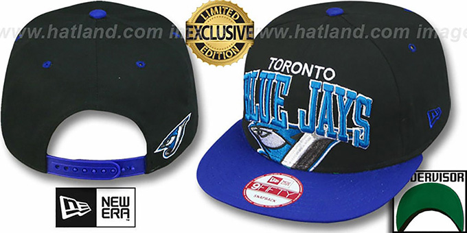Blue Jays 'SUPER-LOGO ARCH SNAPBACK' Black-Royal Hat by New Era : pictured without stickers that these products are shipped with
