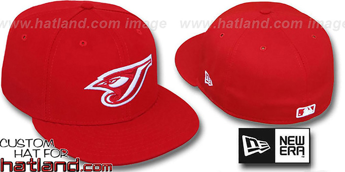 Blue Jays 'TEAM-BASIC' Red-Red Fitted Hat by New Era : pictured without stickers that these products are shipped with