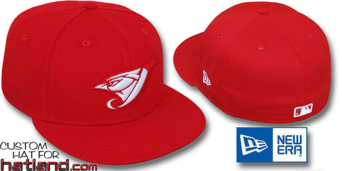 Blue Jays 'TEAM-BASIC' Red-White Fitted Hat by New Era : pictured without stickers that these products are shipped with