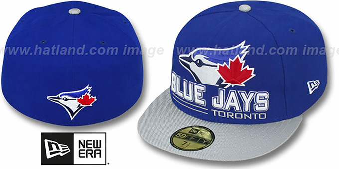 Blue Jays 'TECH MARK' Royal-Grey Fitted Hat by New Era : pictured without stickers that these products are shipped with