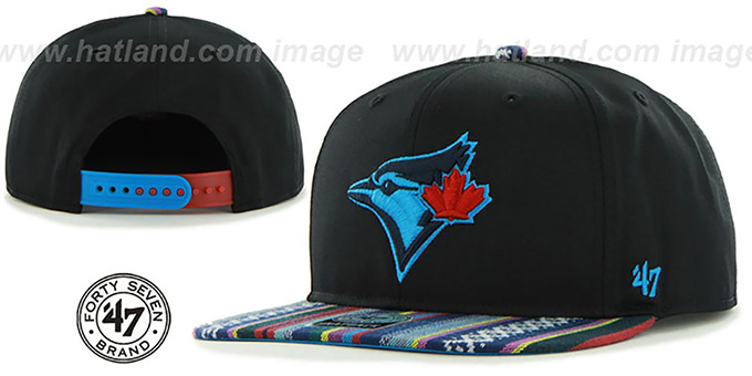 Blue Jays 'THE-DUDE SNAPBACK' Black-Blue Hat by Twins 47 Brand : pictured without stickers that these products are shipped with