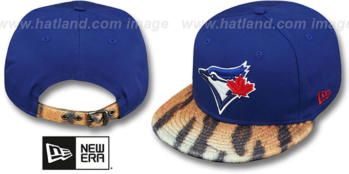 Blue Jays 'TIGER ANIMALISTIC-FUR VIZA STRAPBACK' Hat by New Era : pictured without stickers that these products are shipped with