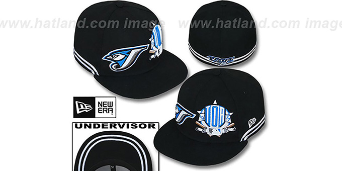 Blue Jays 'TWO-BIT' Black-White Fitted Hat by New Era : pictured without stickers that these products are shipped with