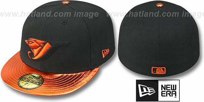Blue Jays 'VIZATION' Black-Orange Fitted Hat by New Era : pictured without stickers that these products are shipped with