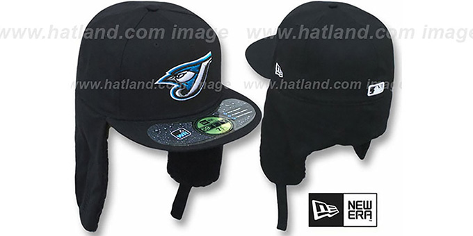Blue Jays 'WATER REPELLENT DOGEAR' Black Fitted Hat by New Era : pictured without stickers that these products are shipped with