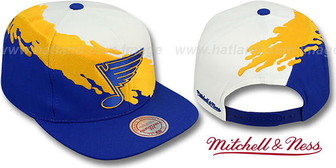 Blues 'PAINTBRUSH SNAPBACK' White-Gold-Royal Hat by Mitchell and Ness : pictured without stickers that these products are shipped with