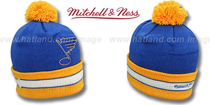 fd9ff37ffcd5a2 St Louis Blues XL-LOGO BEANIE Royal by Mitchell and Ness