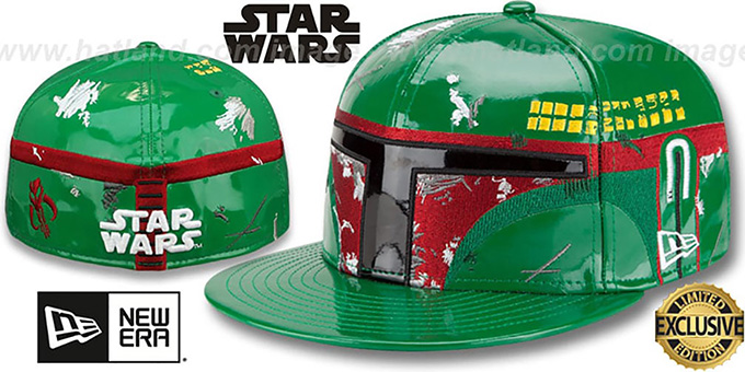 Boba Fett 'CHARACTER FACE' Fitted Hat by New Era : pictured without stickers that these products are shipped with