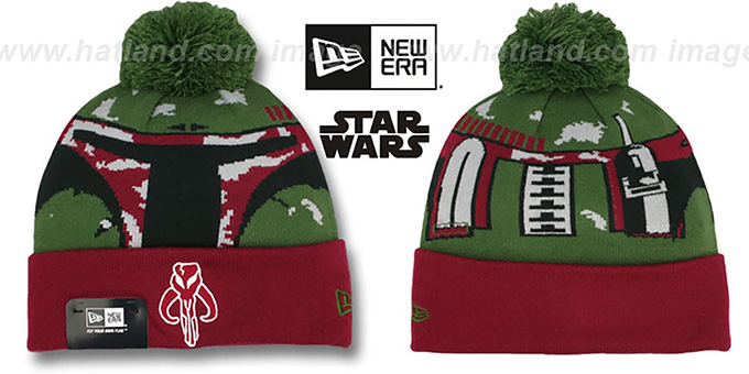 Boba Fett 'GALLACTIC BIGGIE' Green-Burgundy Knit Beanie Hat by New Era : pictured without stickers that these products are shipped with