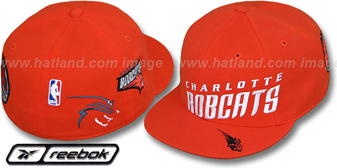 Bobcats 'ELEMENTS' Fitted Hat by Reebok - orange : pictured without stickers that these products are shipped with