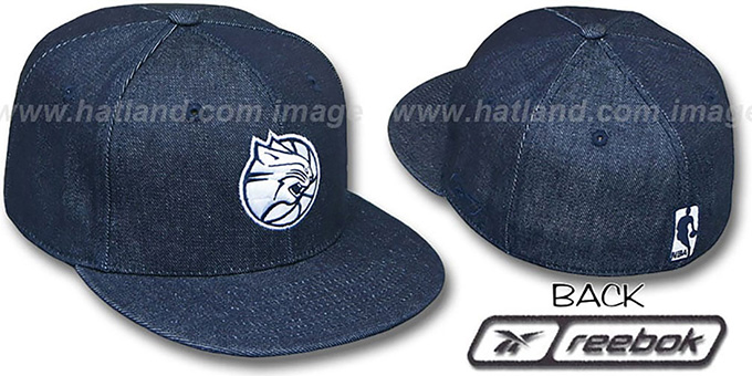 Bobcats 'NAVY DENIM' Fitted Hat by Reebok : pictured without stickers that these products are shipped with