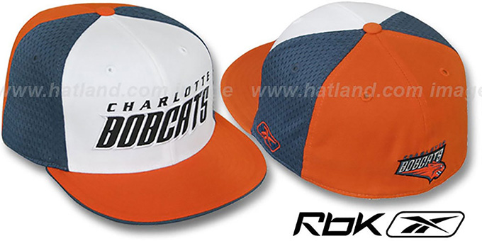 Bobcats 'SWINGMAN' White-Slate-Orange Fitted Hat by Reebok : pictured without stickers that these products are shipped with