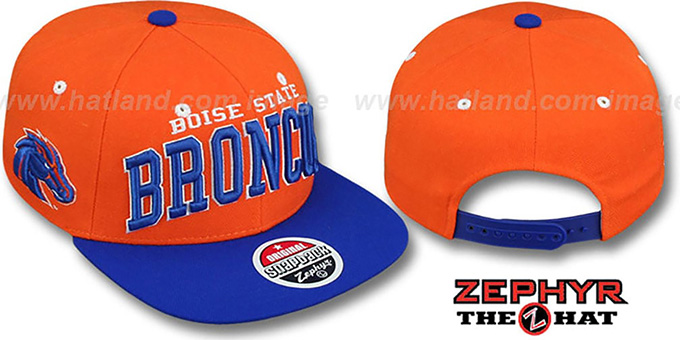 Boise State '2T SUPER-ARCH SNAPBACK' Orange-Royal Hat by Zephyr : pictured without stickers that these products are shipped with