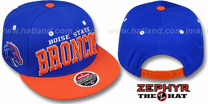 Boise State '2T SUPER-ARCH SNAPBACK' Royal-Orange Hat by Zephyr : pictured without stickers that these products are shipped with