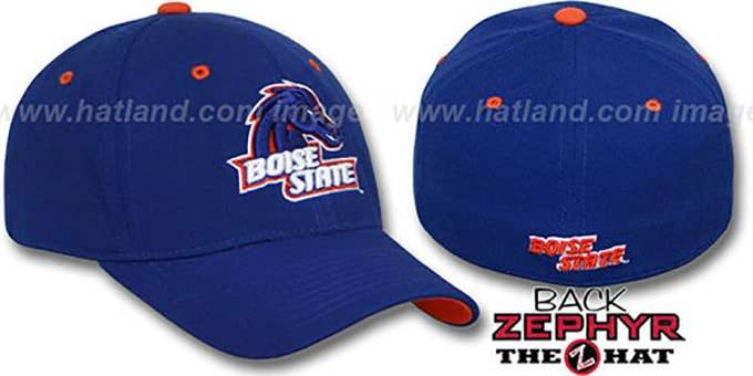 Boise State 'DH' Fitted Hat by Zephyr - royal : pictured without stickers that these products are shipped with