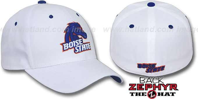Boise State 'DH' Fitted Hat by Zephyr - white : pictured without stickers that these products are shipped with