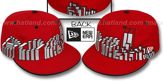 Boston 'BOS BLOCK CITY-SKYLINE' Red Fitted Hat by New Era
