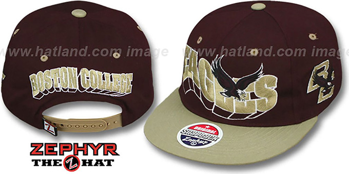 Boston College '2T FLASHBACK SNAPBACK' Burgundy-Gold Hat by Zephyr : pictured without stickers that these products are shipped with