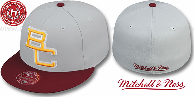 Boston College '2T XL-LOGO' Grey-Burgundy Fitted Hat by Mitchell & Ness : pictured without stickers that these products are shipped with