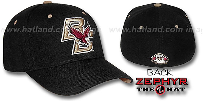 Boston College 'BC-DHS' Black Fitted Hat by Zephyr : pictured without stickers that these products are shipped with