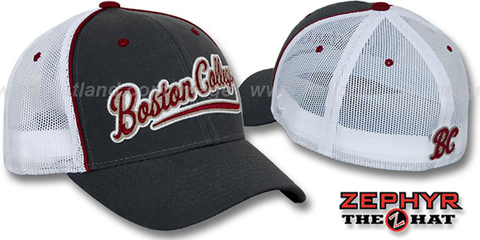 Boston College 'SCRIPT-MESH' Fitted Hat by Zephyr - grey-white : pictured without stickers that these products are shipped with