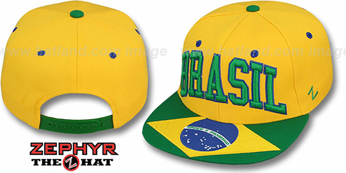 Brasil 'SUPERSTAR SNAPBACK' Gold Hat by Zephyr : pictured without stickers that these products are shipped with