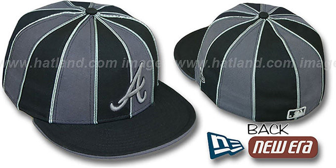 Braves '12-PACK' Black-Grey Fitted Hat by New Era : pictured without stickers that these products are shipped with