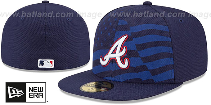 Braves '2015 JULY 4TH STARS N STRIPES' Hat by New Era : pictured without stickers that these products are shipped with