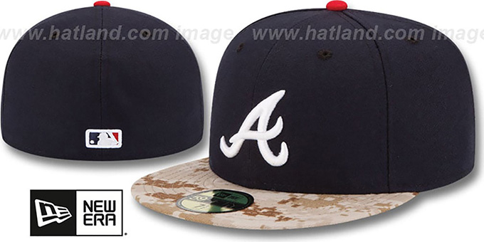 Braves '2015 STARS N STRIPES' Fitted Hat by New Era : pictured without stickers that these products are shipped with