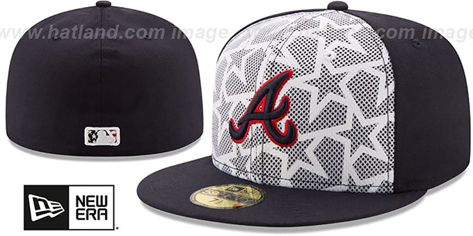 Braves '2016 JULY 4TH STARS N STRIPES' Fitted Hat by New Era : pictured without stickers that these products are shipped with