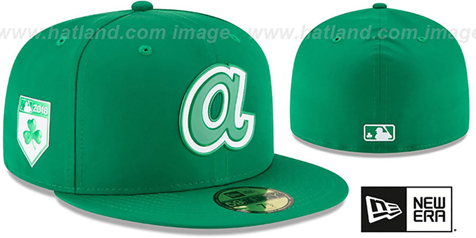 Braves '2018 ST PATRICKS DAY' Hat by New Era : pictured without stickers that these products are shipped with