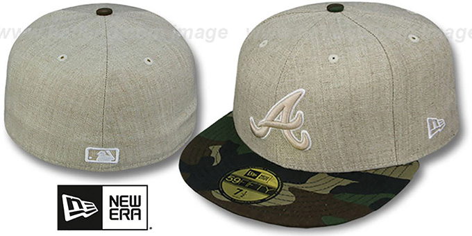 Braves '2T-HEATHER' Oatmeal-Army Fitted Hat by New Era : pictured without stickers that these products are shipped with