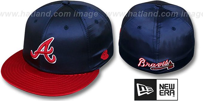 Braves '2T SATIN CLASSIC' Navy-Red Fitted Hat by New Era : pictured without stickers that these products are shipped with
