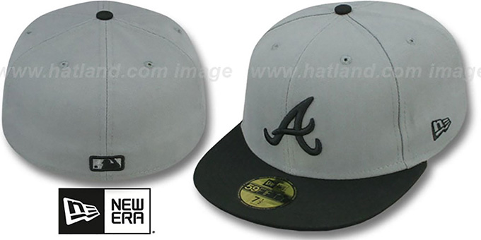 Braves '2T TEAM-BASIC' Grey-Black Fitted Hat by New Era : pictured without stickers that these products are shipped with