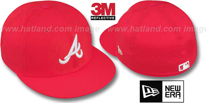 Braves '3M REFLECTIVE' Red Fitted Hat by New Era : pictured without stickers that these products are shipped with