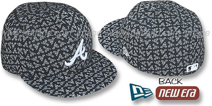 Braves A 'ALL-OVER FLOCKING'-2 Black-White Fitted Hat by New Era : pictured without stickers that these products are shipped with