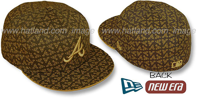 Braves A 'ALL-OVER FLOCKING' Brown-Wheat Fitted Hat by New Era : pictured without stickers that these products are shipped with