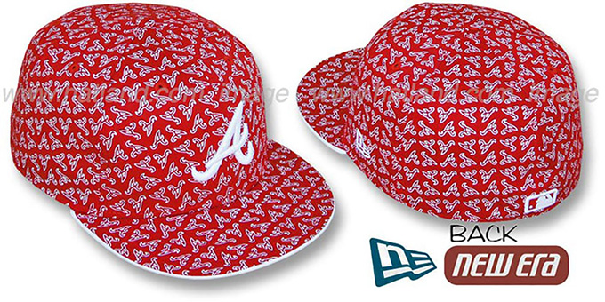 Braves A 'ALL-OVER FLOCKING' Red-White Fitted Hat by New Era : pictured without stickers that these products are shipped with