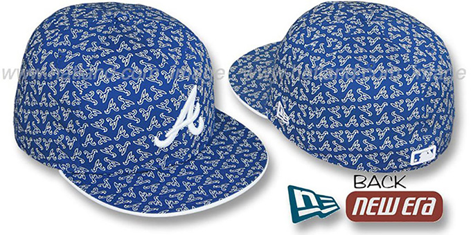 Braves A 'ALL-OVER FLOCKING' Royal-White Fitted Hat by New Era : pictured without stickers that these products are shipped with
