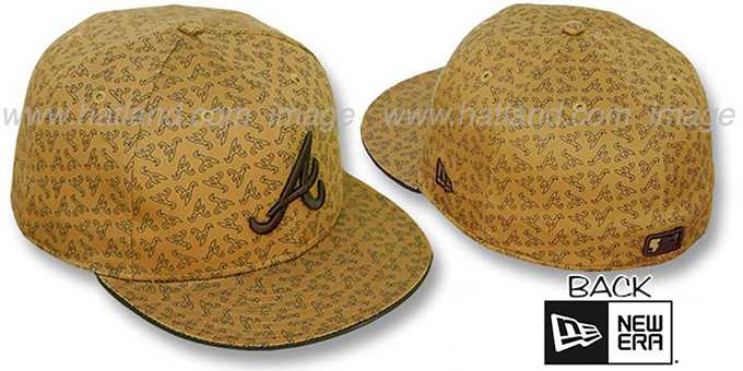 Braves A 'ALL-OVER FLOCKING' Wheat-Brown Fitted Hat by New Era : pictured without stickers that these products are shipped with