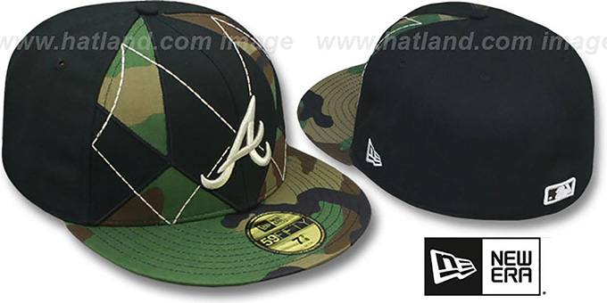 Braves 'ARMY CAMO BRADY' Fitted Hat by New Era : pictured without stickers that these products are shipped with