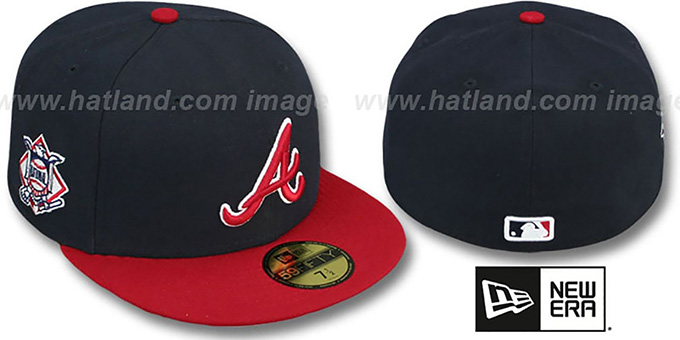 Braves 'BAYCIK' Navy-Red Fitted Hat by New Era : pictured without stickers that these products are shipped with