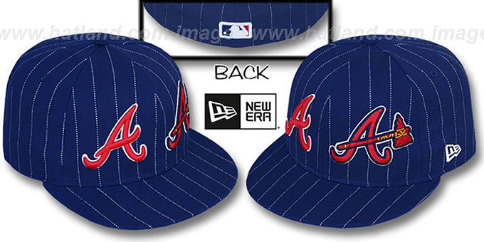 Braves 'BIG-ONE DOUBLE WHAMMY' Navy-White Fitted Hat : pictured without stickers that these products are shipped with