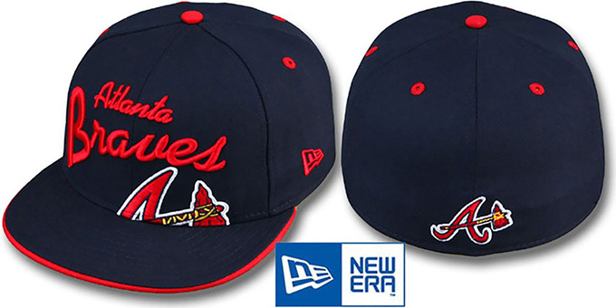 Braves 'BIG-SCRIPT' Navy Fitted Hat by New Era : pictured without stickers that these products are shipped with