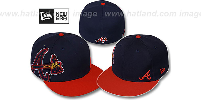 Braves 'BIG-STITCH' Navy-Red Fitted Hat by New Era : pictured without stickers that these products are shipped with