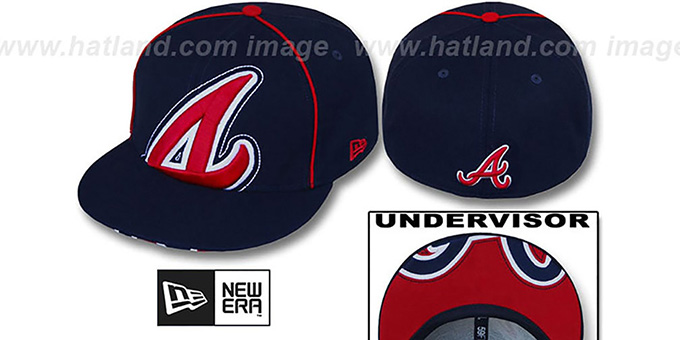 Braves 'BIG-UNDER' Navy Fitted Hat by New Era : pictured without stickers that these products are shipped with