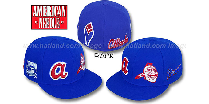 Braves 'BIGFOOT' Fitted Hat by American Needle - royal : pictured without stickers that these products are shipped with