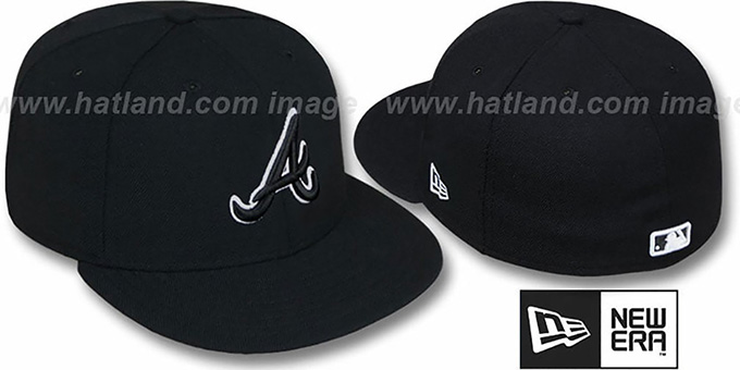 Braves Black-Black Fitted Hat by New Era : pictured without stickers that these products are shipped with